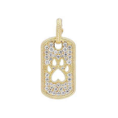 Judith Ripka Sterling Silver Gold-Clad Diamonique® Dog Tag Paw Pendant