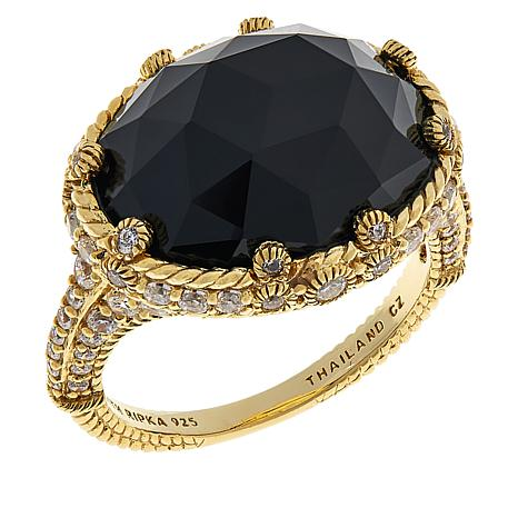 Judith Ripka Sterling Silver Oval Onyx and Diamonique® Cocktail Ring
