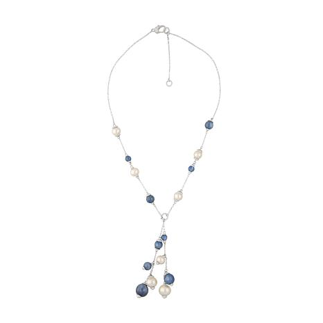 Judith Ripka Sterling Silver Pearl and Kyanite Necklace