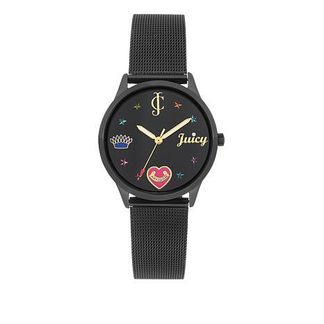 Juicy Couture Black Dial Black Mesh Strap Watch
