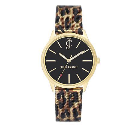 Juicy Couture Black Dial Leopard Mesh Bracelet Watch