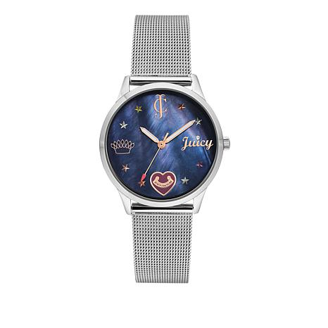 Juicy Couture Blue Dial Silvertone Mesh Strap Watch