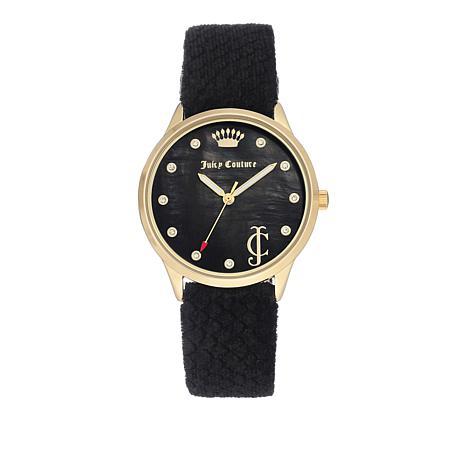 Juicy Couture Goldtone Bezel Round Dial Black Velvet Heart Charm Watch