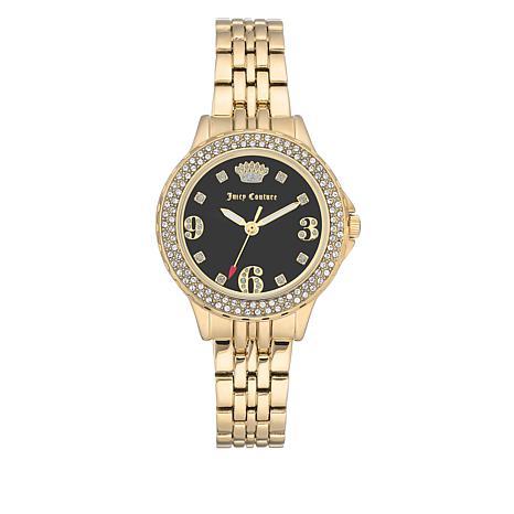Juicy Couture Goldtone Crystal Bezel Bracelet Watch
