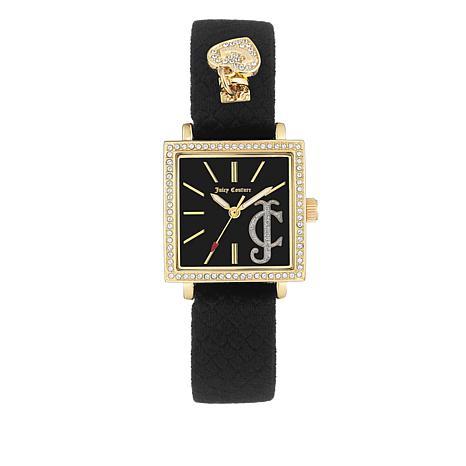 Juicy Couture Goldtone Square Crystal Bezel Black Velvet Strap Watch