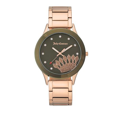 Juicy Couture Goldtone Women's Brown Dial Crown Watch