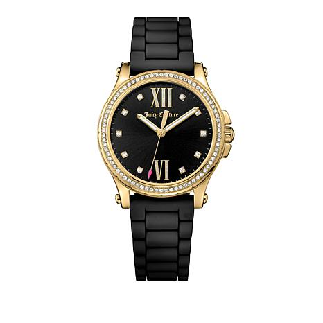 Juicy Couture Hollywood Goldtone Black Strap Watch