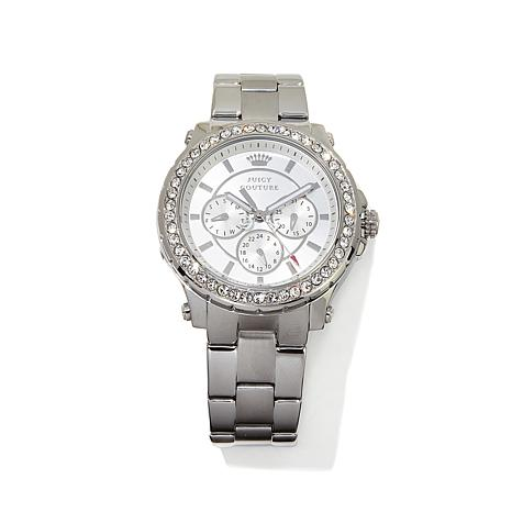 Juicy Couture Silvertone Crystal Bezel 3-Subdial