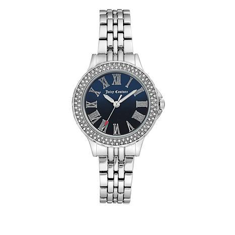 Juicy Couture Silvertone Crystal Bezel Navy Blue Dial Bracelet Watch