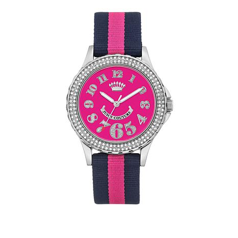 Juicy Couture Silvertone Dial Pink and Navy Strap Watch