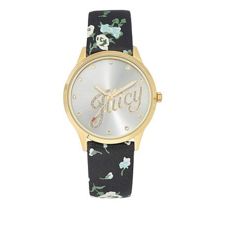 Juicy Couture Silvertone Pavé Dial Black Leather Floral Strap Watch