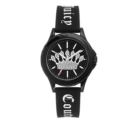 Juicy Couture Women's Black Logo Strap Sparkle Crown Watch