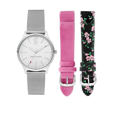 Juicy Couture Women's Interchangeable 3-Strap Watch Set