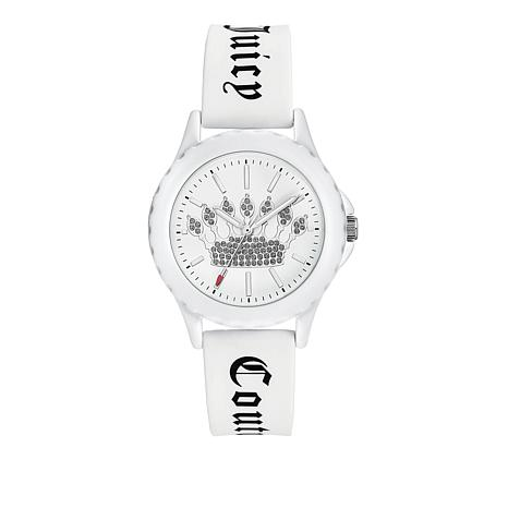 Juicy Couture Women's White Logo Strap Sparkle Crown Watch