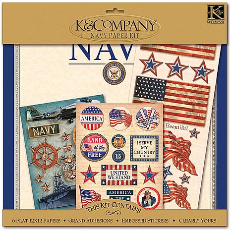 K & Company Military Scrap Kit 12X12 Layouts - Navy