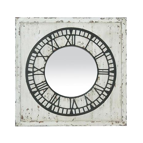 """Keeping Time"" Distressed Mirror - White"