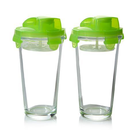 Kinetic Glasslock 14oz Green Elements Shaker w/Lid 2pk