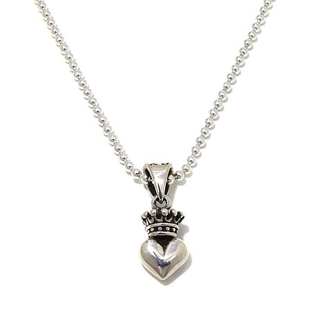 """King Baby Jewelry Crowned Heart Pendant with 18"""" Chain"""