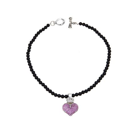 King Baby Jewelry CZ Crown Heart Pendant w/Chain