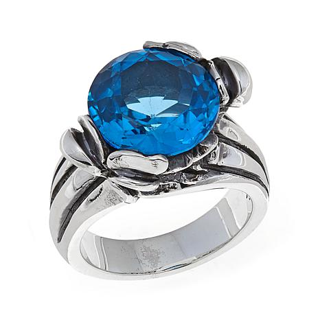 King Baby Jewelry Sterling Silver 2ct Blue Topaz Rose Ring