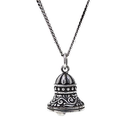 "King Baby Sterling Silver Bell Pendant with 18"" Chain"