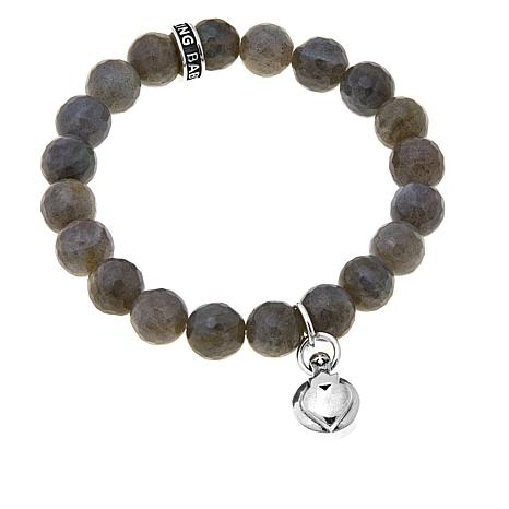King Baby Sterling Silver Crowned Heart Bead Bracelet