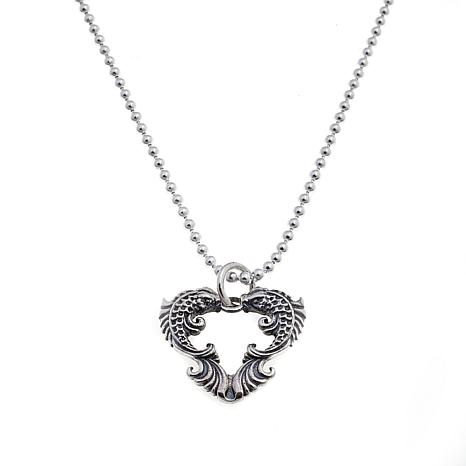 King Baby Sterling Silver Koi Heart Pendant with Chain