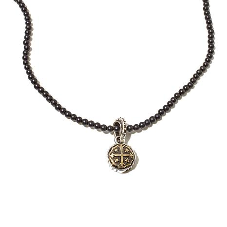 King Baby Sterling Silver Shipwreck Cross Onyx Necklace