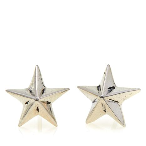 King Baby Sterling Silver Star Design Stud Earrings