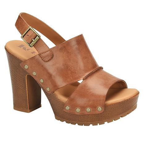 Korks Kristian Wooden Block Heel Leather Sandal