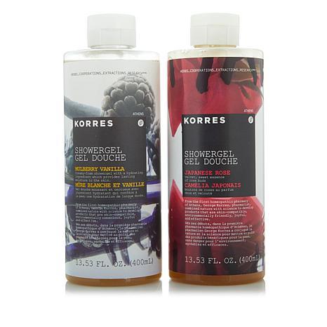 Korres Mulberry Vanilla & Japanese Rose Shower Gel Duo
