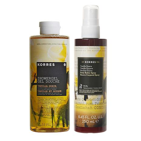 Korres Vanilla Guava Smoothing Body Butter Spray and Shower Gel Set