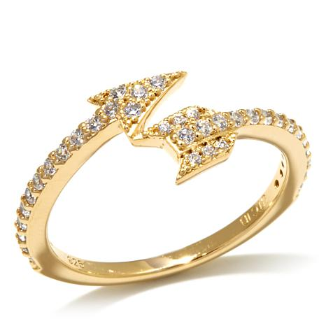 "Kristin Chenoweth ""Broken Arrow"" Pavé Bypass Arrow Ring"