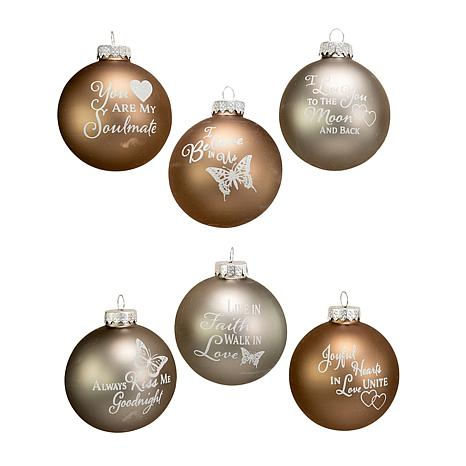 kurt adler 80mm country home sentiment glass ball ornaments 6pc box