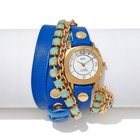 La Mer Leather Strap and Chain Goldtone Wrap Watch