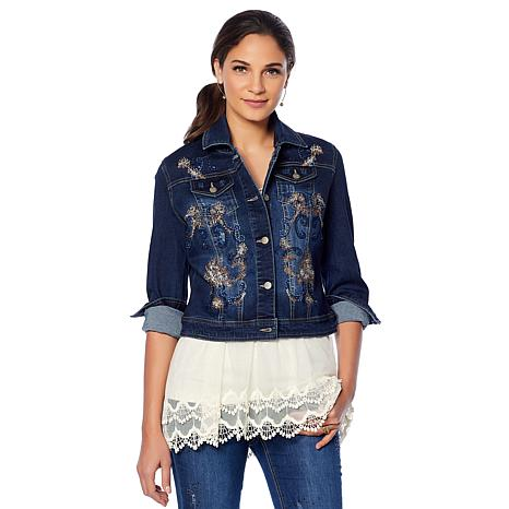 3459886c31c4cf LaBellum by Hillary Scott Embellished Denim Jacket - 8769417