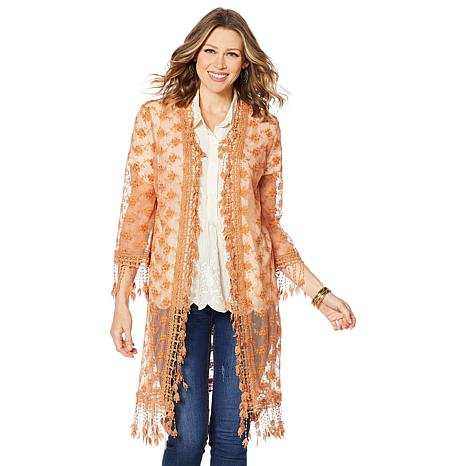 LaBellum by Hillary Scott Lace Duster with Crochet Fringe
