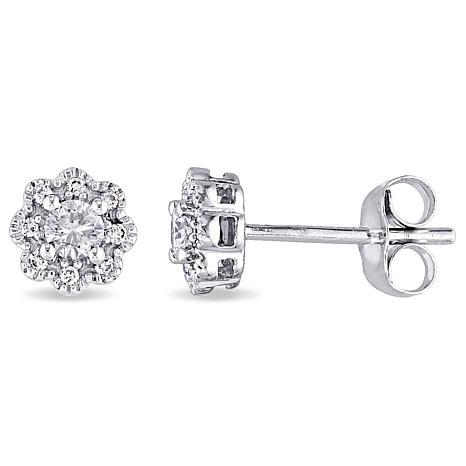 Laura Ashley 0.24ctw Diamond 10K Flower-Design Studs