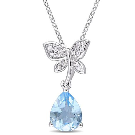 Laura Ashley Blue Topaz and Gem Butterfly Necklace