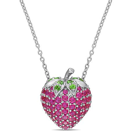 Laura Ashley Created Ruby and Tsavorite Strawberry Necklace