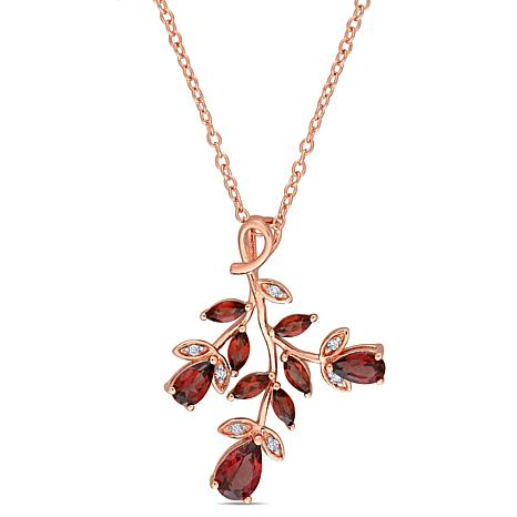 Laura Ashley Rose-Tone Garnet and Diamond Leaf-Style Drop Necklace