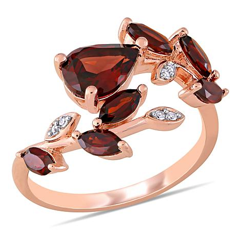 Laura Ashley Rosetone Garnet and Diamond Bypass Ring