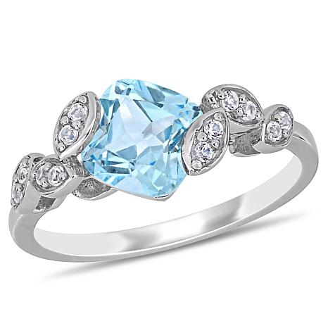 Laura Ashley Sky Blue Topaz and Created White Sapphire Crossover Ring