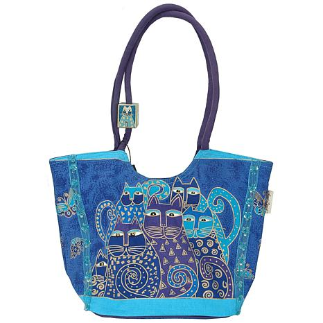 Laurel Burch Scoop Tote Indigo Cats