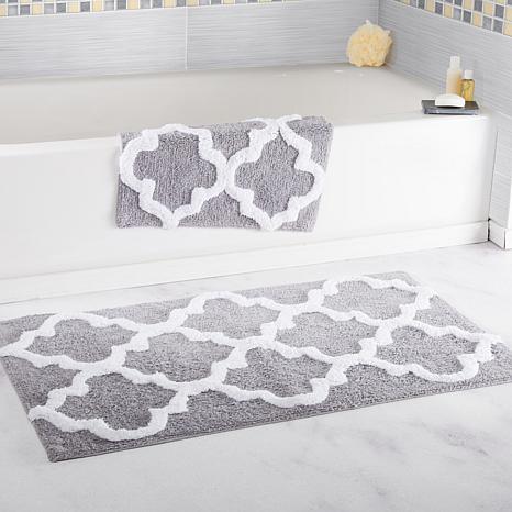 Lavish Home 100% Cotton Trellis 2-piece Bathroom Mat Set