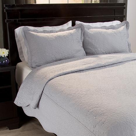 Lavish Home 2-piece Vera Embroidered Quilt Set - Twin