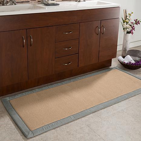 Lavish Home Faux Linen Memory Foam Extra Long Bath Mat