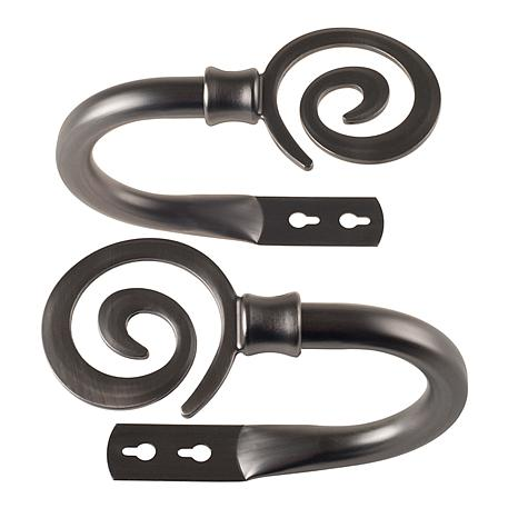 Lavish Home Pair of Spiral Curtain Holdbacks - Pewter