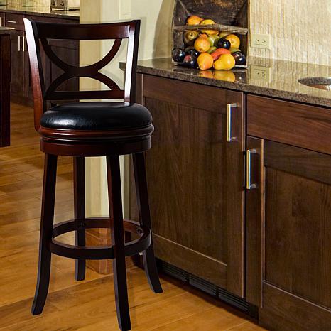 Lavish Home Wooden Swivel Bar Stool with Back