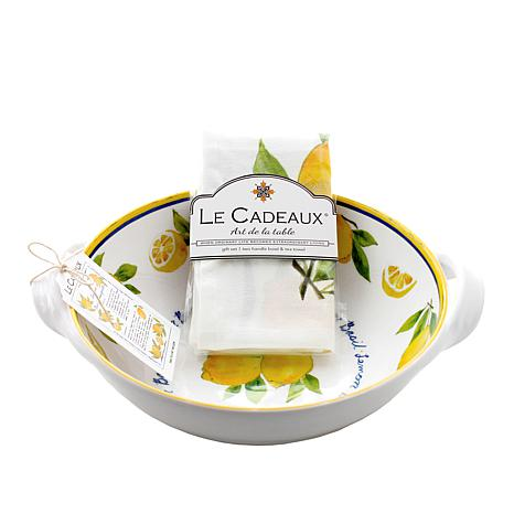 Le Cadeaux Lemon Basil Two-Handle Bowl and Tea Towel Set
